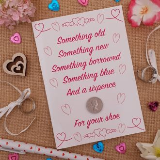 Traditional Wedding Day Sixpence Good Luck Keepsake Card For The Bride - Pink Hearts Collection